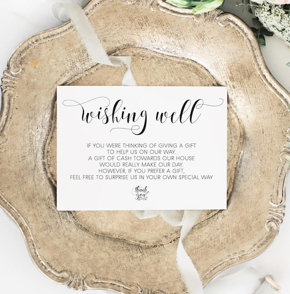 Wishing Well Card Gift registry card Wedding wishing well
