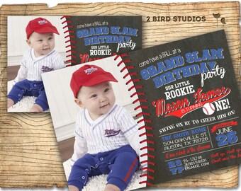 Baseball party invitation- Baseball birthday party invite- Chalkboard invitation baby shower or birthday- DIY printable invitation