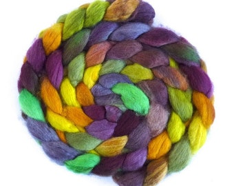 BFL Wool Hand Spinner's Roving - Hand Painted Colorway, Cross Purposes