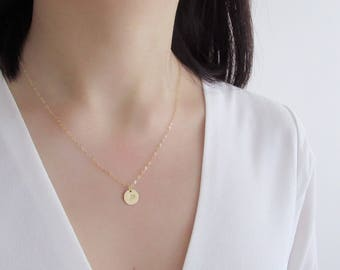Disc necklace, dainty necklace, gold filled necklace, initial necklace, gold disc necklace, silver disc necklace, personalized necklace