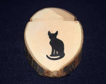 Cat business card etsy business card holder cat reheart Images