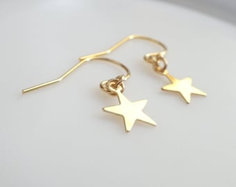 Star Earrings, Gold fill Star earrings, Sterling Silver star earrings, Minimalist star earrings, Delicate earrings, Make a Wish earrings