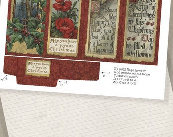 Printable Holiday Christmas Bookmark Set  Christmas Greetings Party Favor Stocking Stuffer Digital Collage Sheet  instant Download Printable