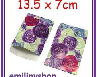 lot 50 covers fancy 13.5x7 purple rose flower gift wrapping paper bags, jewelry