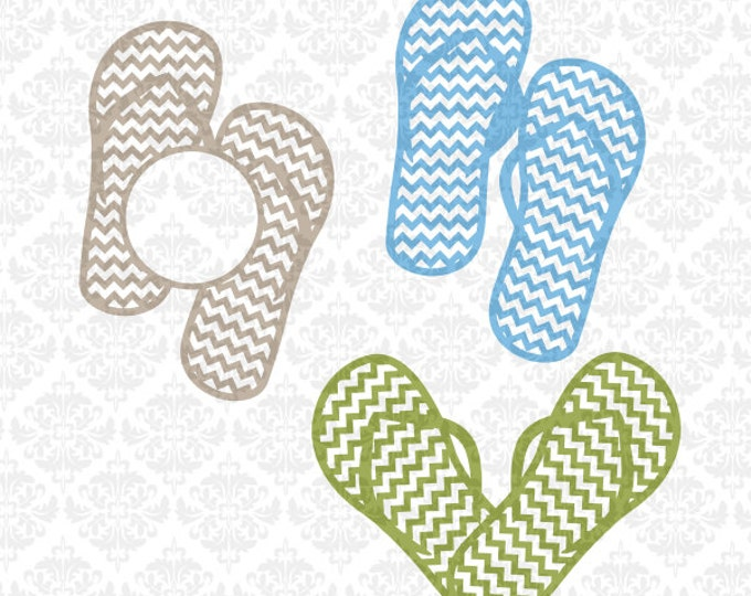 Flip Flop flipflops Heart Chevron Monogram SVG STUDIO Ai EPS scalable vector Instant Download Commercial Use Cricut Silhouette