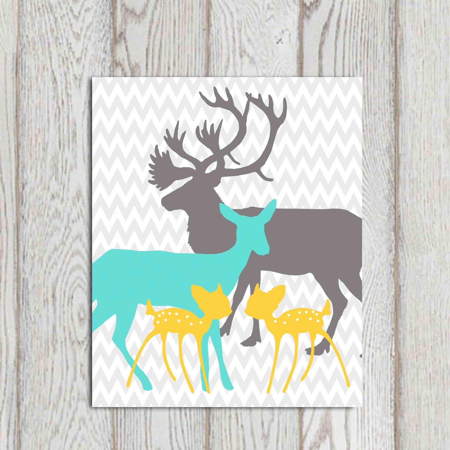 Elephant Twin Nursery Wall Art Nursery Room Decor For Twins: Twin Bedroom Printable Deer Family Print Nursery Wall Decor