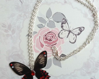 Dramatic Black & Red Butterfly Pendant