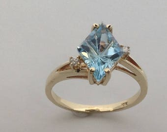 Natural Blue Topaz with Natural Diamond Ring Solid 10kt Yellow Gold
