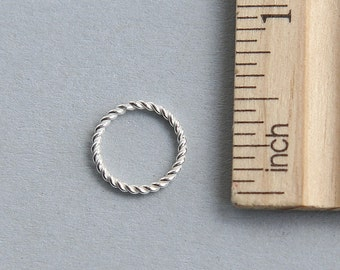 Sterling Silver Jump Ring, 925 Sterling Silver Jump Ring, Twisted Wire Jump Ring, Closed Ring, 12mm ( 1 piece )