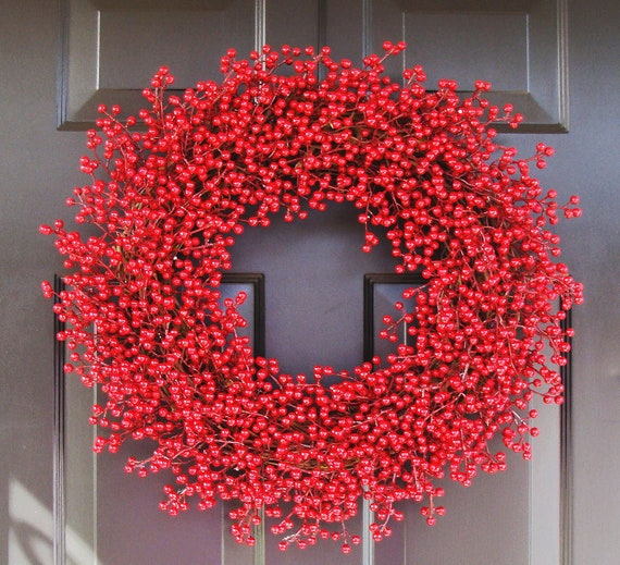 Winter Wedding Wreath, Berry Wreath, Red Christmas Wreath, Christmas Decoration, 24 inch, As Seen in Better Homes and Gardens