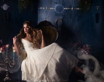Gardenia, Lace handkerchief hem wedding dress