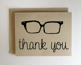 Hipster Glasses Thank You Card