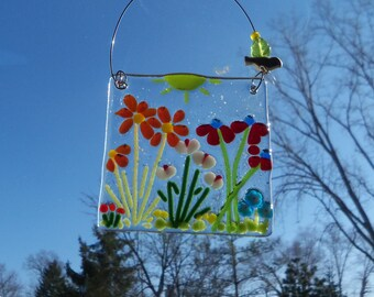Field of FLowers Fused Glass Suncatcher // Garden // Daisy // Colorful // Folkart //  Sunshine // Get Well // Mothers Day // Cute // Bright