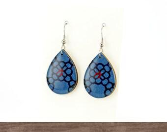 Teardrop wood dangle earrings, Indigo blue earrings, Casual earrings, Laser cut, Katazome, Hypoallergenic, Paper earrings, autumn+tree