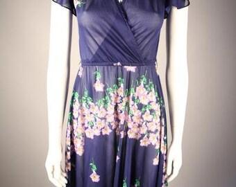 1970s Navy Floral Print Dress