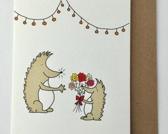 Blooming Hedgehog Greeting Card