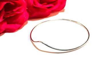 Wave Bangle - Minimalist Bracelet - Dainty Bangle - Stacking Bracelet - Solid Sterling Silver - Handmade - Gift for Her - Gift under 50