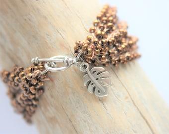 "Bracelet beaded ""Grains of sand"" Brown copper"