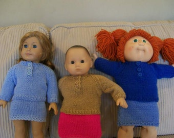 """96) Knit Front Button Pullover Sweaters Short Sleeves Long Sleeves Knit Hand Made Dolls Doll Clothes 15-18"""" AG Bitty Baby CP and Preemie"""