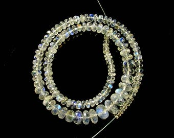 """Rainbow moonstone faceted rondelle beads AAA 4-9mm 14.7"""" strand"""
