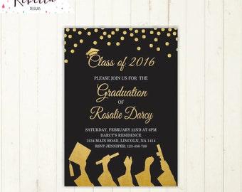 graduation invitation graduation party invitation gold and black invitation high school grad invitation university class of prom invitations