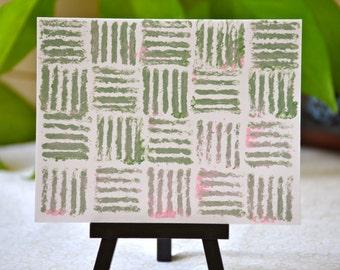 Green/Pink Yarn Stamped Notecard Set