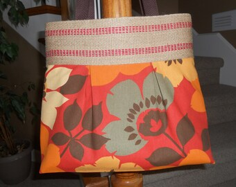 """Handmade Purse...The """"Brooke""""...in """"Paprika"""" Floral with Jute Webbing Top Band"""