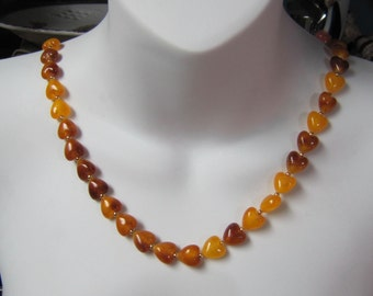 """Amber Heart Bead Necklace, Honey Amber, Baltic Amber 36"""" Necklace"""