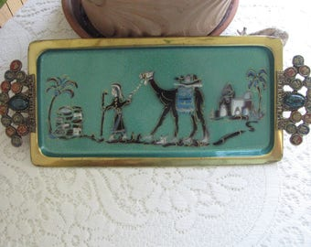 Brass Jerusalem Tray Jeweled and Lacquered Tray 12 Tribes of Israel and Green Agate Stone