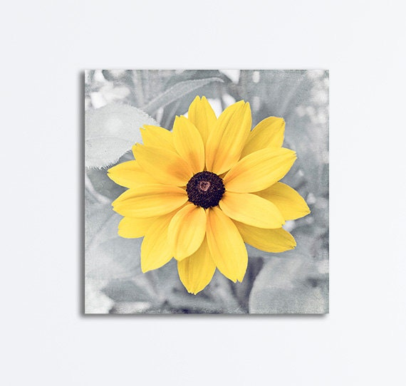 Floral Black And Grey Nature Tattoo: Yellow Grey Nature Canvas Gray Flower Canvas Wall Art
