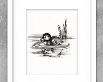 Baby Duck Swimming -  Original Painting - Pen - Ink Black White Watercolor - Nursery - Collectable Art