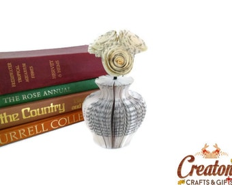 Mini Paper Vase with book rose Paper Flowers Book Art - origami flowers - Book Art - Mother's Day Gift idea