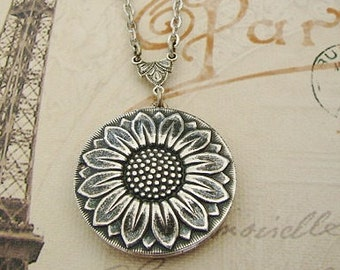 Silver Sunflower Locket Necklace Birthday Gift Mother Wedding Bride Bridesmaid Wife Sister Daughter Anniversary Gift Photo Pictures - Cami