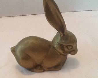 Vintage Brass Hare with natural patina on it-1950s- Brass Rabbit, paperweight, brass collector awesome addition to someones brass collection