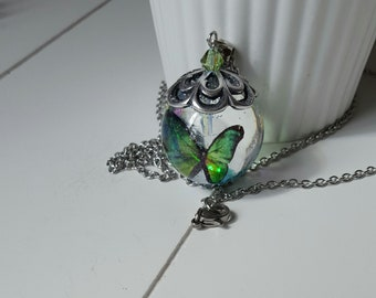 Bubble resin Butterfly green Bicone swarovski crystal, stainless steel necklace, mother, gift for her, Aquastella