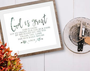 Farmhouse Dining Room Decor - Dining Room Wall Art - Dining Room Decor - God Is Great God Is Good - Farmhouse Kitchen Decor - Kitchen Gifts