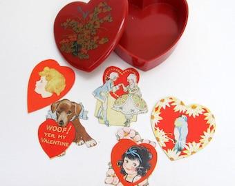 Vintage Valentine Heart Decoration/ Keepsake Box/ Vintage Valentine Scraps Decorations