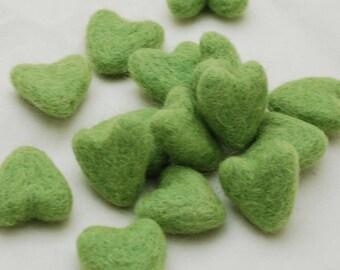 3cm 100% Wool Felt Hearts - 10 Count - Grass Green
