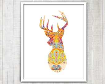 Deer head Stag Antlers Silhouette with colorful abstract spirals