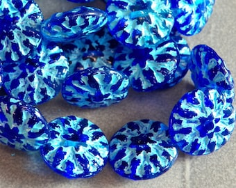 Czech Ocean Blue Dahlia 15mm Flat Flower Glass Beads (10) 1192