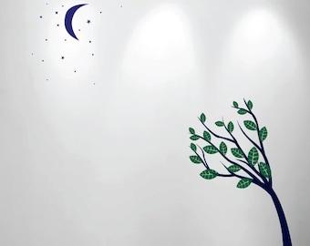 Large Wall Tree Nursery Decal Moon Stars Night Sky 1138 (6 feet tall tree)