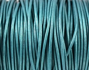 2mm Metallic Truly Teal Leather Cord Round