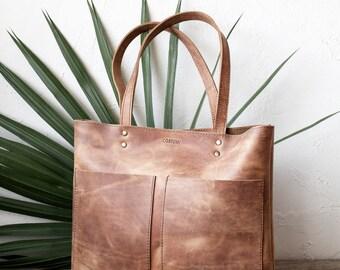 Medium Distressed Camel Leather Tote bag, shopper tote, brown leather bag, front pocket bag, rustic style bag