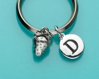 Strawberry Keychain, Strawberry Key Ring, Initial Keychain, Personalized Keychain, Custom Keychain, Fruit Charm Keychain, 345