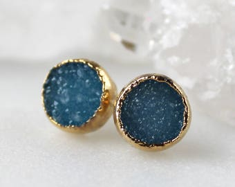 HUGE SALE druzy studs, turquoise druzy, gold druzy studs, gold studs, electroformed, post earrings, gifts for her