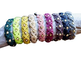 Geometric Brass Macrame Bracelet | Bohemian Chic | Brown, Yellow, Pink, Black, Green, Grey