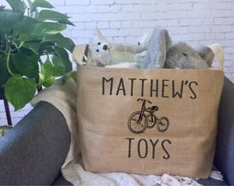personalized kids toy storage basket/ children's toy bin/ nursery storage/ baby shower gift bag/ toy basket/ toy tote/trike decor