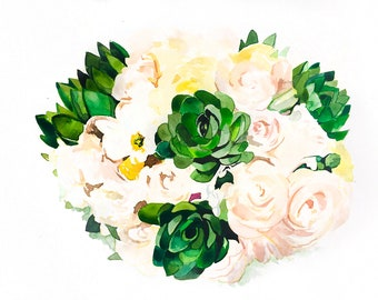 Anniversary Gift - Custom Wedding Bouquet Painting - Original Watercolor Painting from your Photo - Family - Gift - Flowers - Marriage