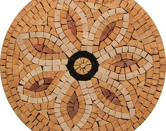 """Beautiful Flower Wall 12"""" DECOR Round Floral Art Marble Mosaic IN662"""