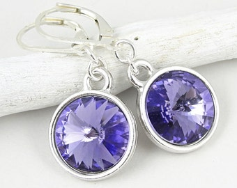 Sterling Leverback Earrings with Tanzanite Swarovski Rivoli Stones - Crystal Jewelry Lavender Violet Periwinkle Purple Earrings